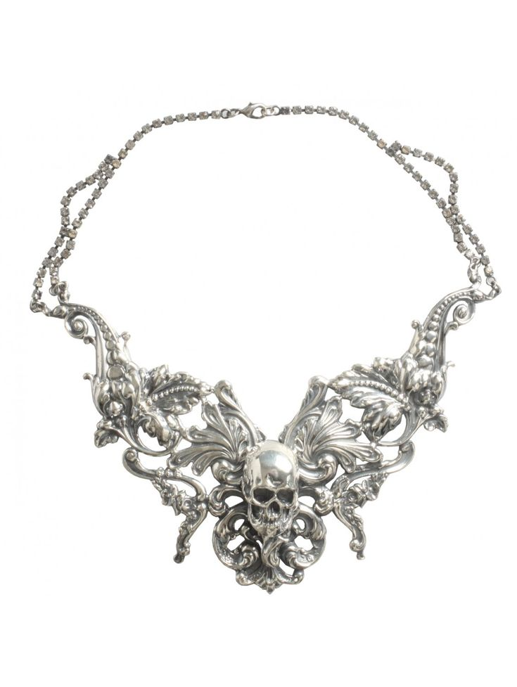 Rococo Skull Necklace Silver - Jewellery from HERVIA.COM UK