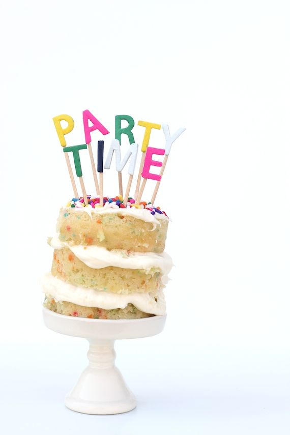 'Party Time' Alphabet Cake Topper