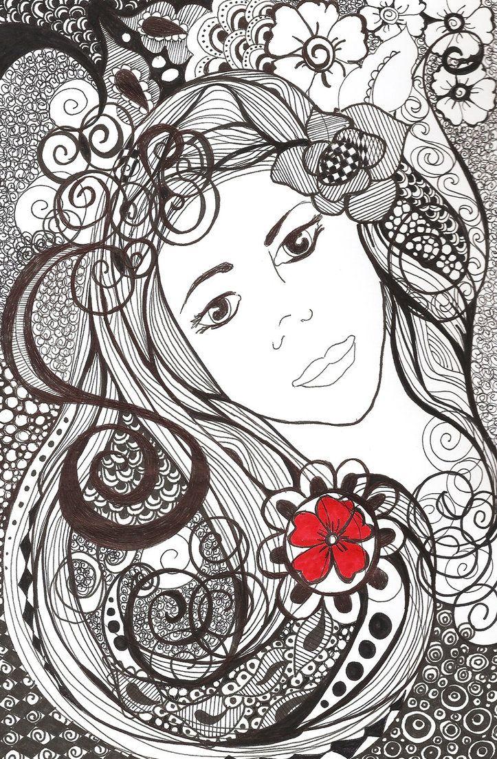 128 best beautiful zentangle women girls images on - Doodle dessin ...