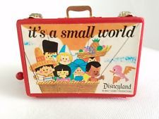 "RARE VINTAGE DISNEYLAND ""It's A Small World"" Red Musicbox Lunchbox Mint"