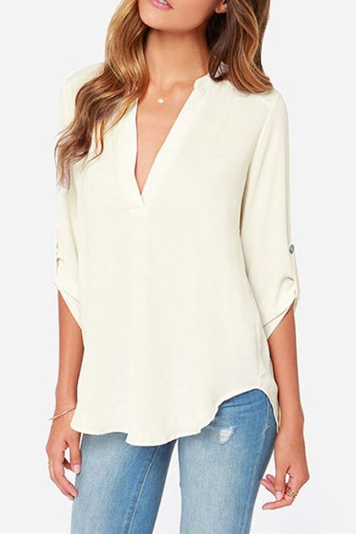 Draped Sleeve Irregular Hem Chiffon Shirt