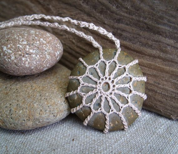 Crochet Stone . Bohemian Necklace . Beach by TheTreeFolkHollow, $20.00