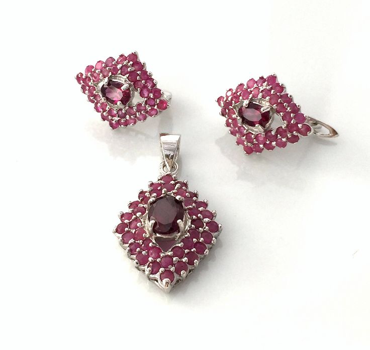 Natural Rich Red RHODOLITE GARNET & African RUBY, 14k White Gold and 925 Sterling Silver, Pendant and Earrings Jewellery. by AmeogemPreciousJewel on Etsy