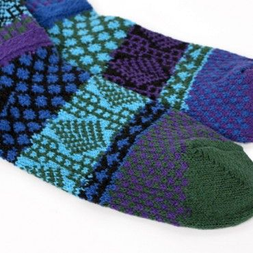 Blue Spruce Solmate Mismatched Knitted Socks from www.indigobluetrading.com