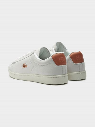 836367275c2864 Lacoste Womens Nubuck Leather Carnaby Evo 118 1 in Off-White and Rose Gold  8