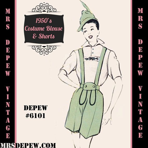 Vintage Sewing Pattern 1950's Costume German Gentleman in Any Size - PLUS Size Included - Depew 6101 -INSTANT DOWNLOAD-