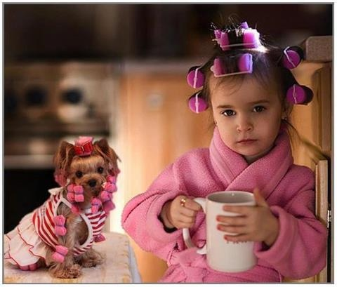 Coffee lovers start so young!!! LoL...the girl is cute, the dog is kinda creepy