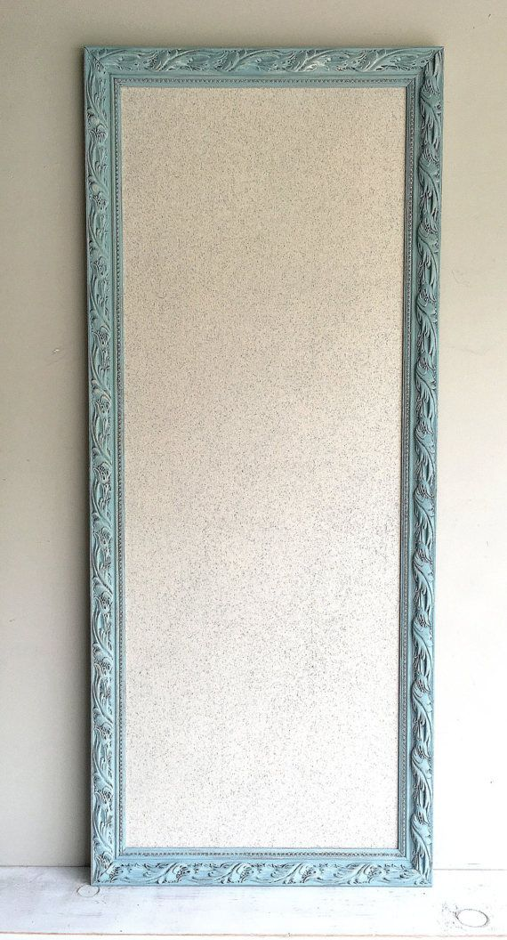 Narrow MEMO BOARD Fabric Cork Board Tack Board  A reproduction of a 19th century baroque style frame transformed into a beautiful bulletin board. Painted in a soft robins egg blue then distressed to give a timeless vintage look perfect for any home, wedding, event or business.  OVERVIEW: