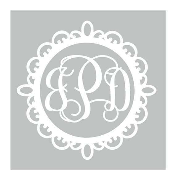 Fancy Frame Circle Vine Monogram Decal Car Decal By