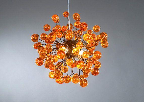 Hanging lamp Orange lamp orange bubbles by Flowersinlight on Etsy, $360.00