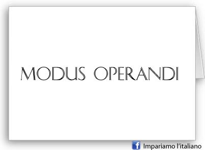 MODUS OPERANDI