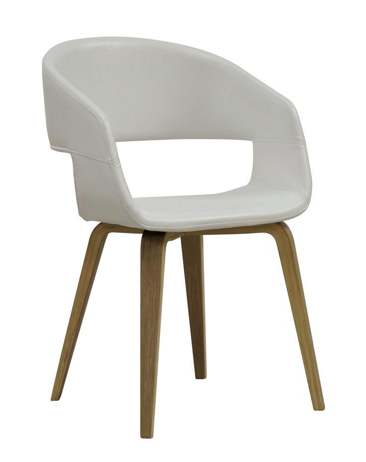 Chaise san blanc ch ne for Chaise de salle a manger en chene massif recouvert de tissu