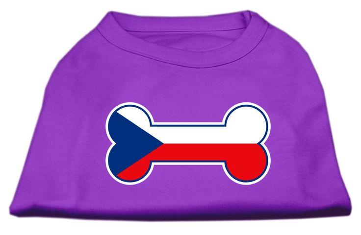 Bone Shaped Czech Republic Flag Screen Print Shirts Purple S (10)