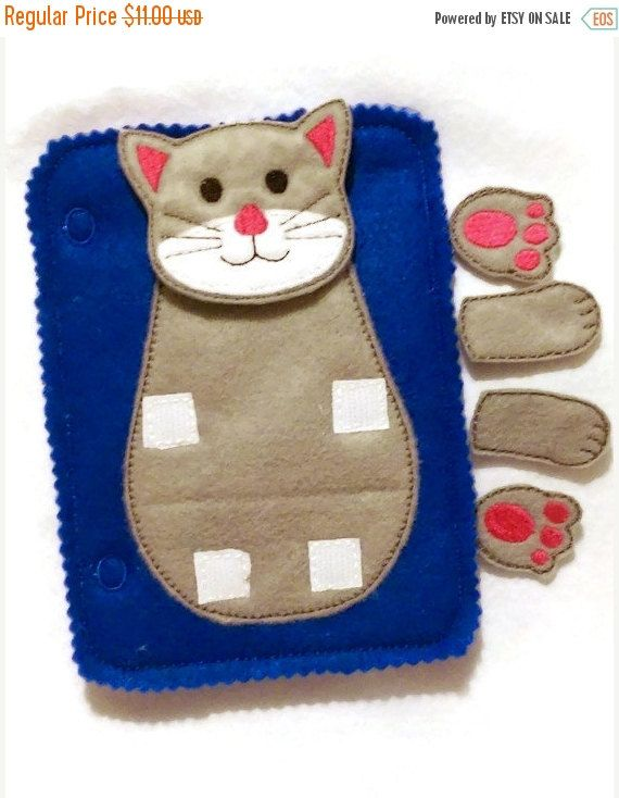 ON SALE Cat build a book activity book add on page felt quiet book page