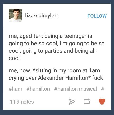 For me it was Rent and Les Miz in high school but if I were a teenager now it'd totally be hamilton I'm crying in my room alone to