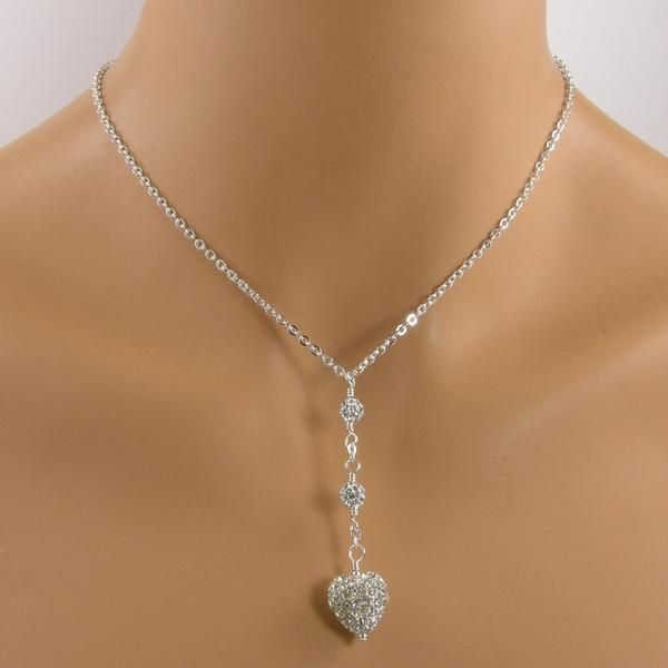 Silver Pave Crystal Heart Necklace, Pave Pendant Heart Necklace