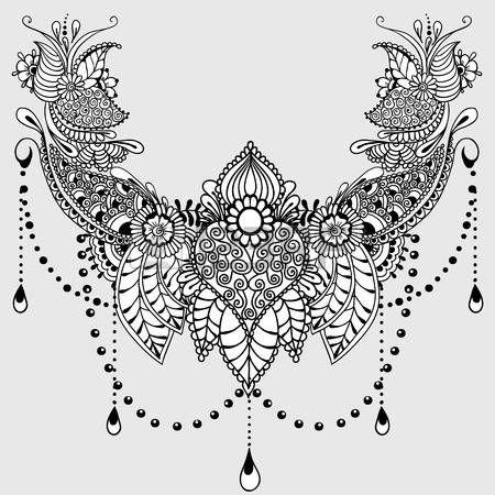 mandala inde: Modèle de conception de tatouage avec des éléments mehndi. ornement floral. Islam, arabe, indien, motifs ottomanes. Noir et blanc illustration vectorielle sur fond gris clair.