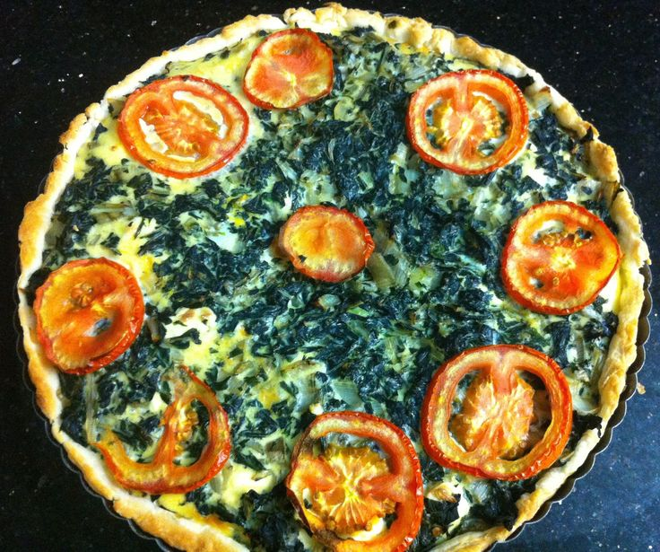 Quiche style tart with cream cheese, spinach and tomato!