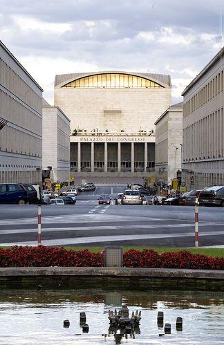 Mussolinis Centro Congressi Italia, Palazzo Dei Congressi. EUR, Rome, Italy.