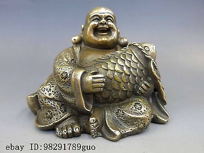 Chinese Brass Copper Buddhism Fengshui Fish Money Wealth Maitreya Buddha Statue