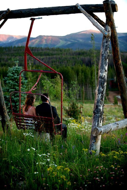 LOVE this swing made from an old ski lift chair