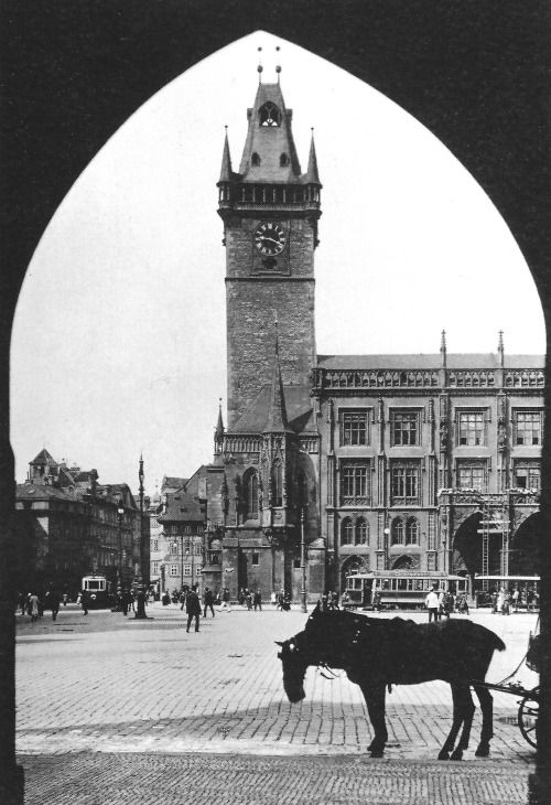 Prague by Jan Posselt, Old Town Hall, 1927