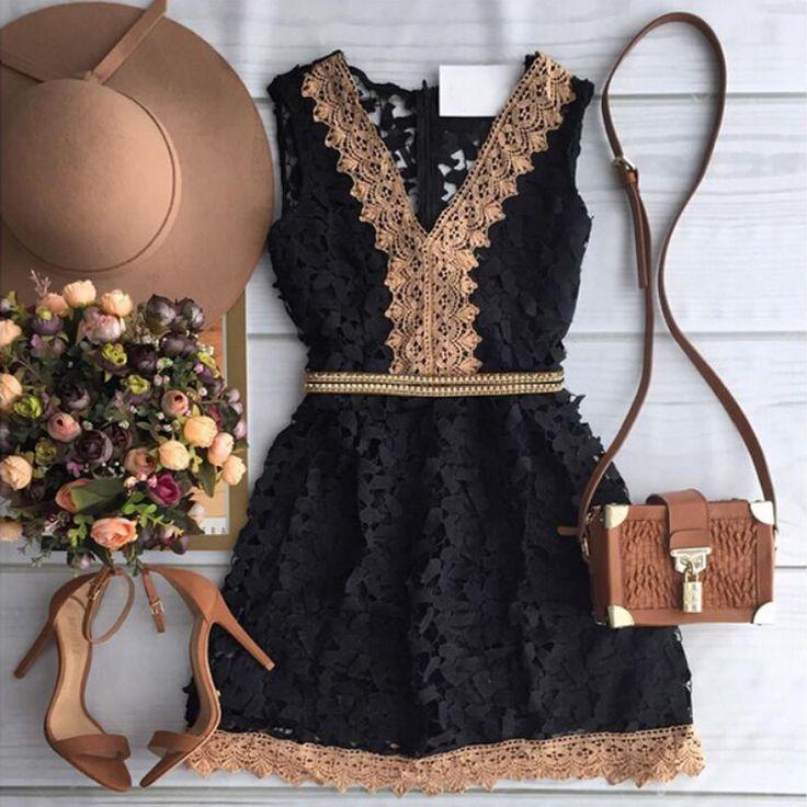 Barato 2015 moda outono nova mulher a   linha vestido elegante black lace…