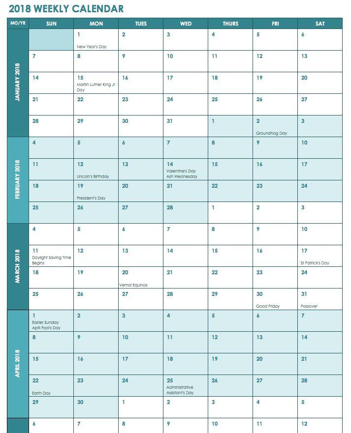 Week Wise 2018 Calendar 2018 Calendars Pinterest Excel