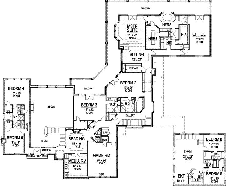 Image Result For House Plans With Balcony Off Master Bedroom