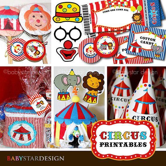 Circus Party Printables (editable PDF & JPG format files)