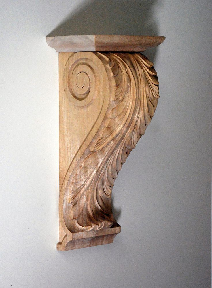 Simple acanthus standard corbel hand carved wood corbels