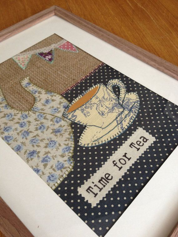 I like the way this picture just shows part of the teapot. It looks more real, somehow.(Time for Tea Handmade Fabric Applique Framed by HenDogDesignsUk, £39.99)
