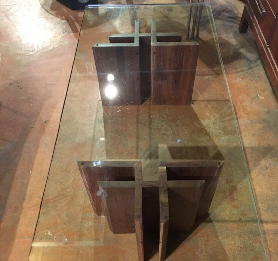 Mid Century Modern Glass Top Coffee Table Walnut by bcdrygoods