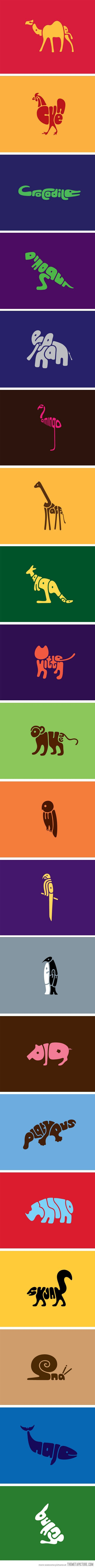 Word Animals - bright, colourful & fun. Great printed off for kids room?: