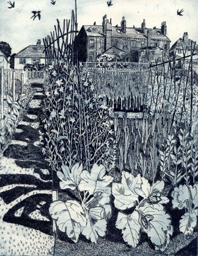 Janis Goodman  Swallows and Sweetpeas - etching