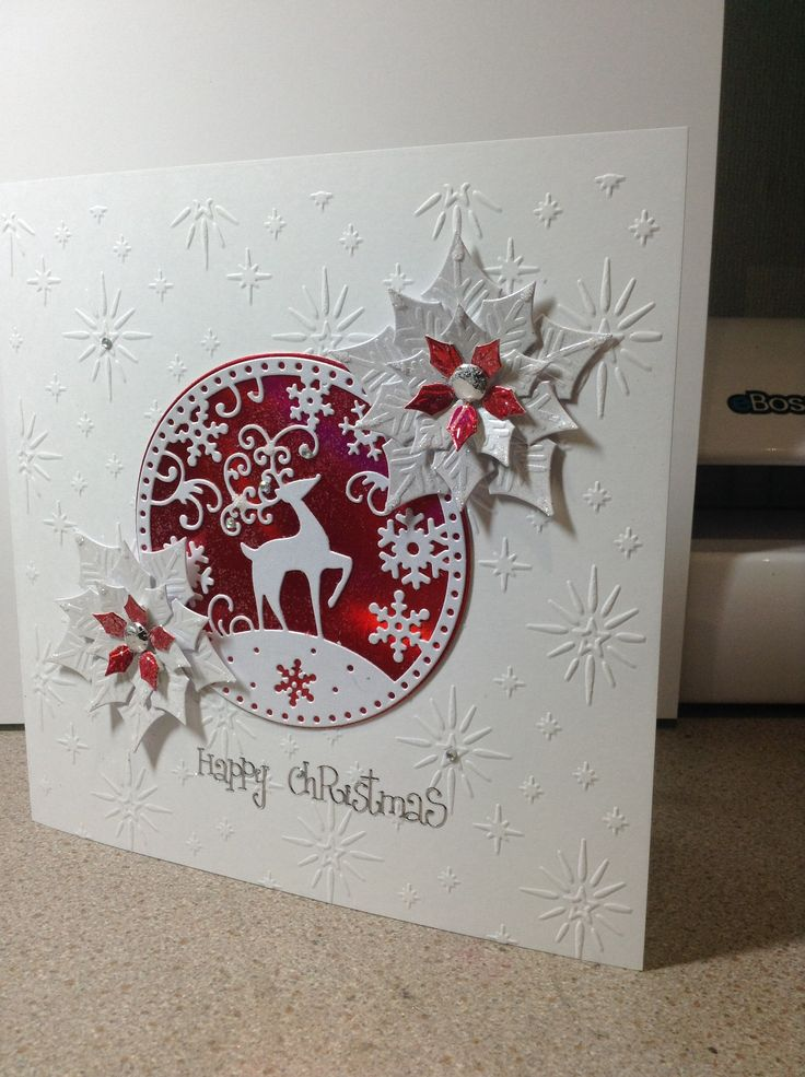 Tattered lace poinsettia snowflake reindeer