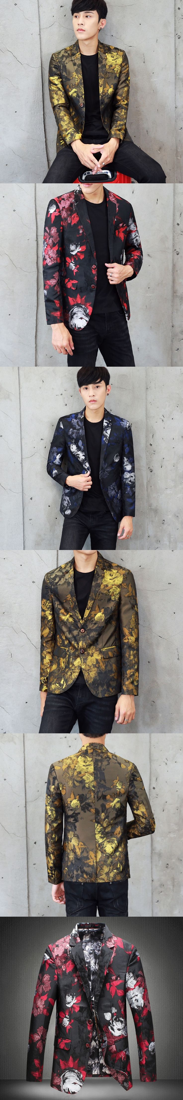2017 Gold Blazers For Mens Floral Red Blazers Mens Slim Fit Flowers Print Suit Jackets Stage Costumes Mens 5XL Club Outfits Blue
