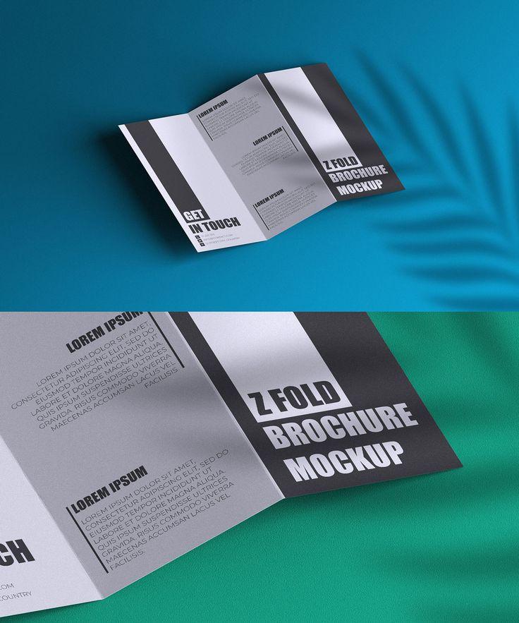ZFold Brochure with Plant Shadow Mockup Brochure