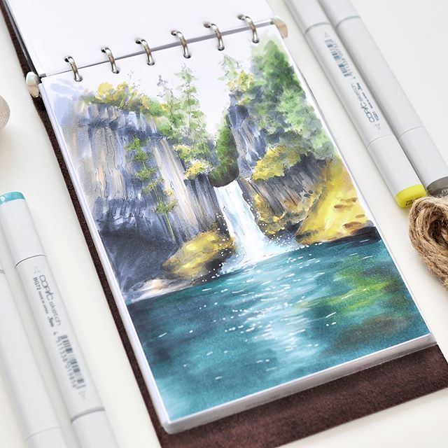 Waterfall Copic Marker Art Copic Art Copic Marker Drawings