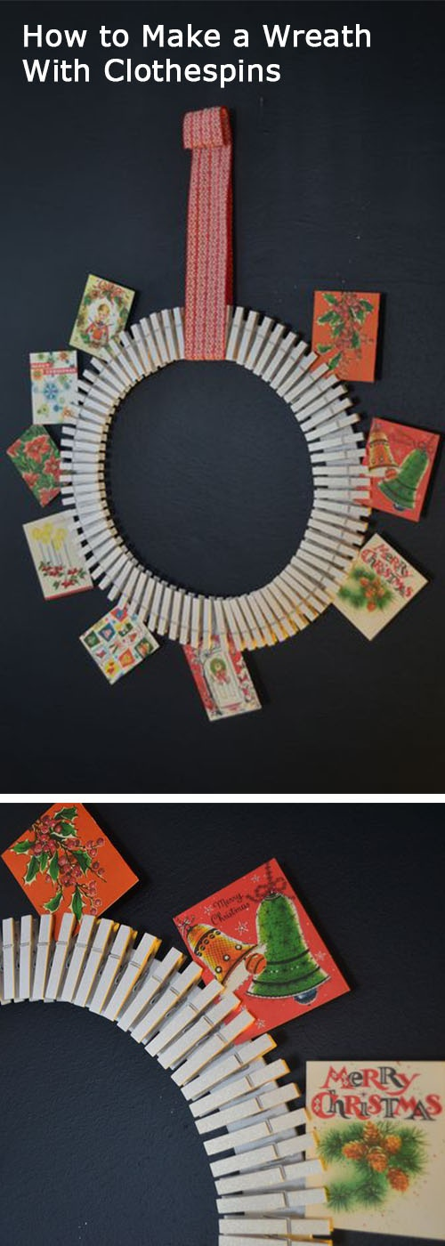 Making a Christmas greeting card wreath