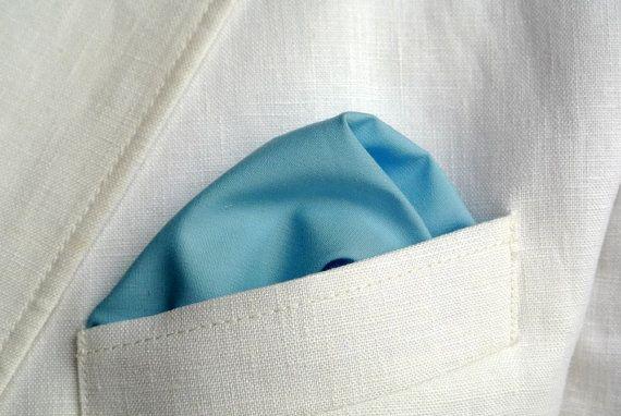 Mens Handkerchief , Pastel Blue Pocket Square , Suit Handkerchief , Rolled Edge Pocket Square , Wedding , Cotton , Grooms Men Handkerchief