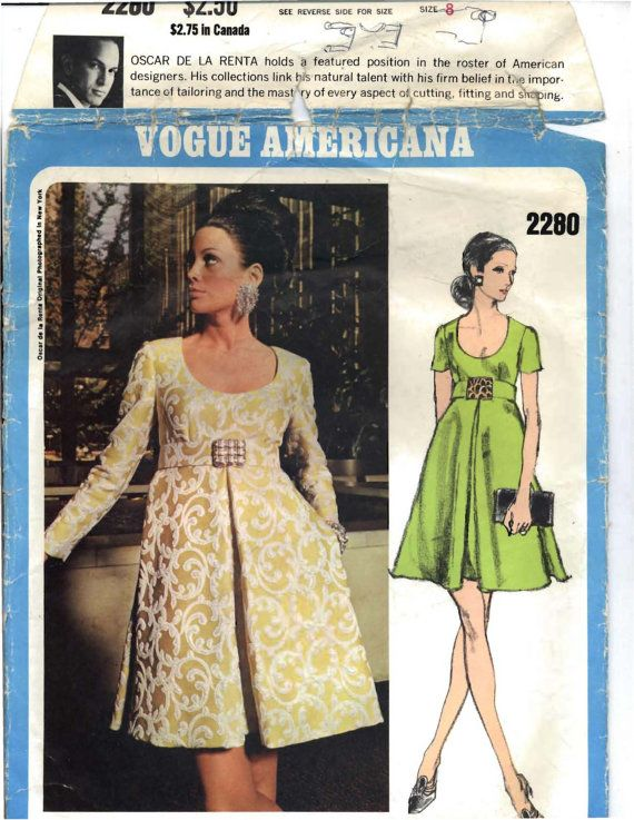 Vogue Americana 2280 Oscar de La Renta Sz8/31.5 Lot/7 37.55/5.36 2/10/13 NoInstr. S50 Instr/copy