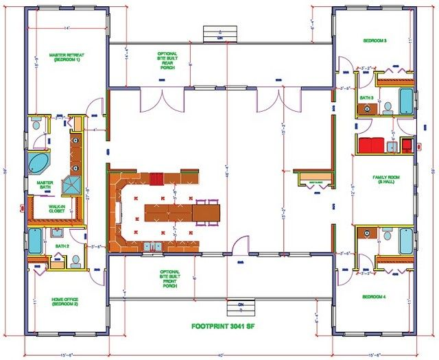 hollywood-maxim-floor-plan - DREAMING - Our wing, the kids wing with a homeschool room in between their rooms...they just definitely do not need their own bathrooms! Ack!