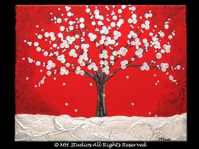 punaiselle paperille talvinen puu... tai violetille...