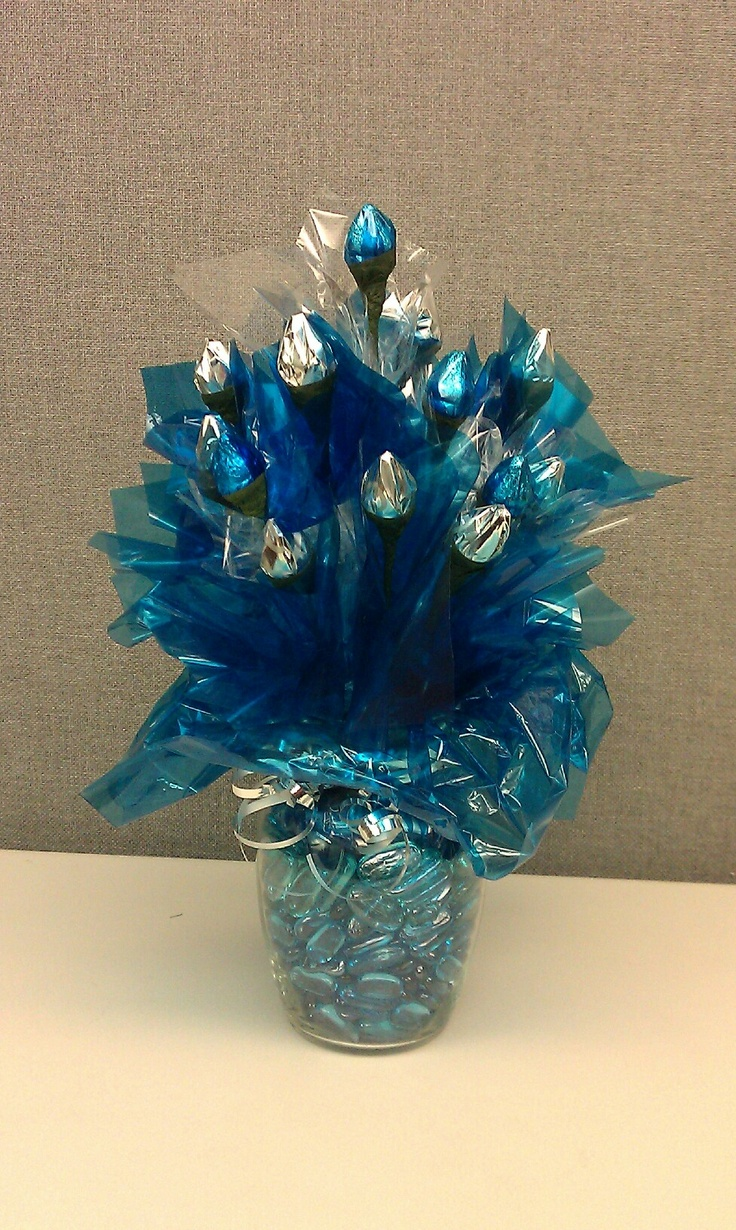Blue and Silver Hershey Kiss Bouquet