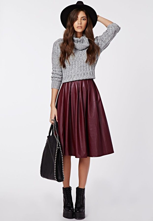 Missguided Rai Faux Leather Full Midi Skirt Burgundy