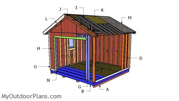 Building A 12x12 Shed With Garage Door 12x12shedplan Door Plan Wood Shed Plans Diy Shed