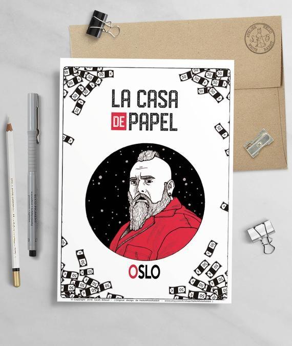 Oslo Poster Tv Show Money Heist La Casa De Papel Oslo Etsy Ink Artwork Poster Art Planet Drawing