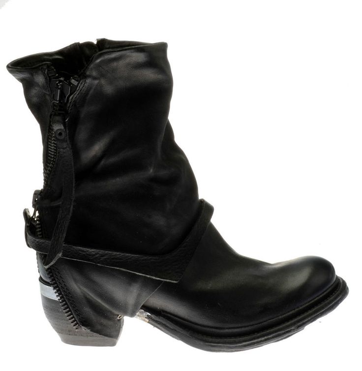 A.S.98 / AIRSTEP 612204 NERO Leder Metall Schuhe Italien Reißverschluss schwarz