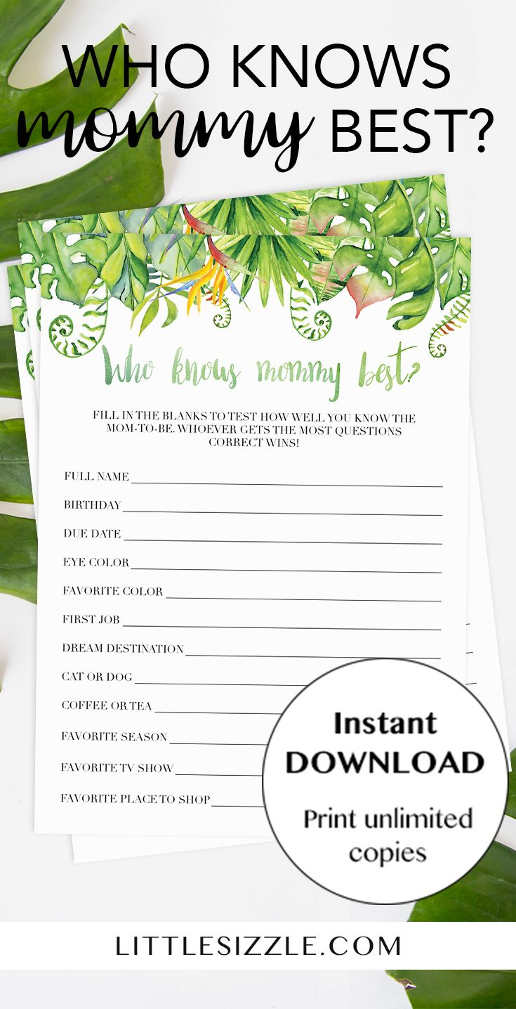 Greenery tropical baby shower games printable by LittleSizzle. Test your baby shower guests how good they know the mommy-to-be and play 'Who knows mommy best' with these unique hawaiian baby games. This printable game is perfect for any neutral shower or luau themed baby party to celebrate the arrival of a baby girl or baby boy. WOW everyone with your beautiful tropical leaves baby shower games. Complete the look with our matching tropical invites and Hawaiian shower decor. #babyshowergames…